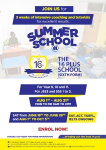 The 16 Plus School Summer 2019